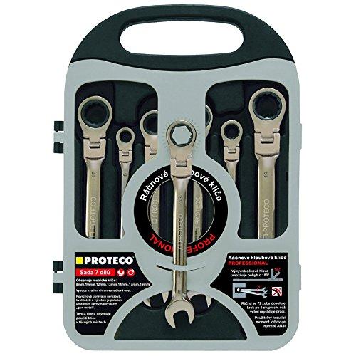 Proteco-Werkzeug® 7 tlg Satz Ratschenschlüssel Ringratschenschlüssel Ratschen Ringschlüssel mit Gelenk
