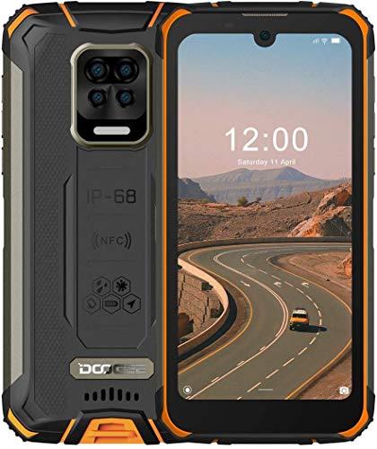 Smartphone Robusto, DOOGEE S59 Pro Batería 10050mAh, Android 10 de 4GB + 128GB, Pantalla HD + de 5.71', 16MP + 8MP Cuatro cámaras, Teléfono Móvil a Prueba de Agua IP68, 4G Dual SIM, NFC/GPS - Naranja