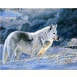 FBDBGRF Pintar por Número Caza del Lobo para Adultos Y Niños DIY Kit De Regalo De Pintura Al Óleo con Juego De Pintura Digital para Decoración del Hogar Lienzos para Pintar