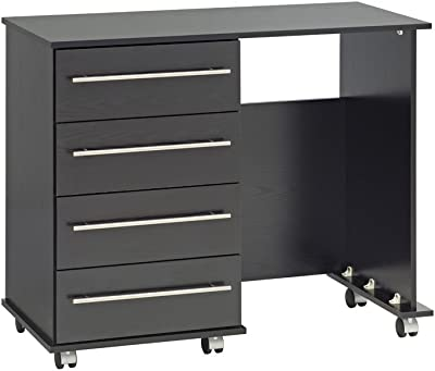 Hulio Riano Dressing Table Solid Wood High Gloss Bedroom Desk Storage Black