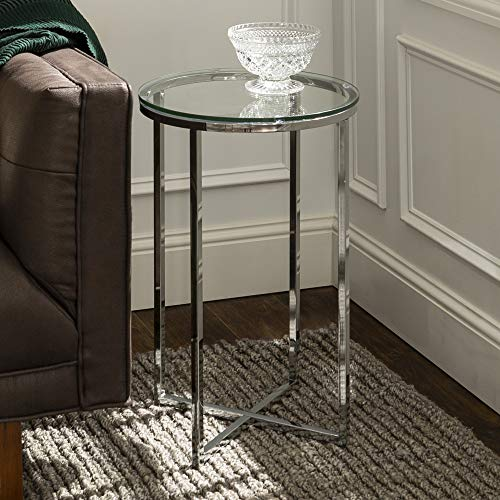 Walker Edison Furniture Company Modern Round Side End Accent Table Living Room, Glass/Chrome