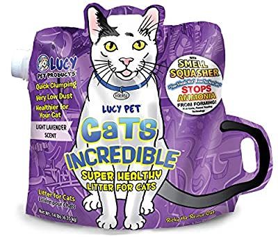Cats Incredible Lucy Pet 14 lb Bag Clumping Cat Litter with Smell Squasher, Absorbent Natural Clay Formula Prevents Ammonia Build-Up, Lavender Scent