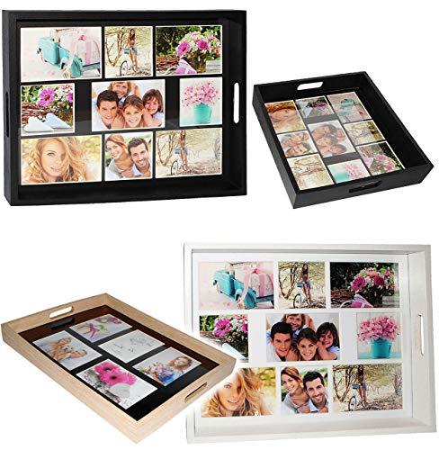 alles-meine.de GmbH XL Tablett -  für - 5 große Fotos & Bilder  - rechteckig - Vintage - auch zur Deko geeignet - Foto Serviertablett aus Holz - braun / Naturholz - Retro Desig..