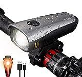Antimi Fahrradlicht Set Wiederaufladbare, LED Fahrradlichter Fahrradlampe Set Vorne Fahrradbeleuchtung Wasserdicht mit Frontlicht Rücklicht (Silber)