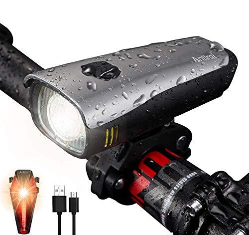 Antimi LED Fahrradlicht Set, USB Wiederaufladbar Fahrradbeleuchtung Set mit IPX5...