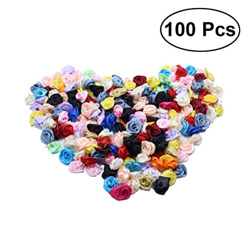 OULII Blumen Köpfe Blütenköpfe Kunstblumen DIY Hochzeit Blumendeko 100 Stück(Mehrfarbig)