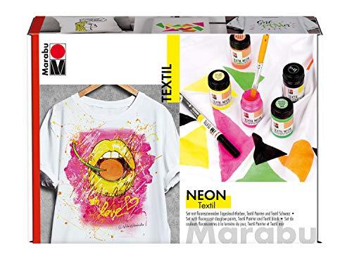 Marabu 1711000000080 - Textil Neon Set, fluoreszierende, intensive Tageslichtfarbe für helle Textilien, leuchtet im Schwarzlicht, 4 x 15 ml Neonfarbe, 15 ml Textilfarbe, Textil Painter und Pinsel