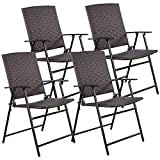TANGKULA 4 PCS Folding Patio Chair Set Outdoor Pool Lawn Portable Wicker Chair with Armrest & Footrest Durable Rattan Steel Frame Commercial Foldable Stackable Party Wedding Chair Set