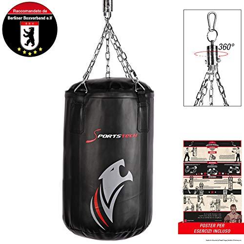 Sportstech Doppelverstärkter Kampfsport Boxsack mit 40cm Durchmesser & Innovative Fünfpunkte-Stahlke (60x40cm)