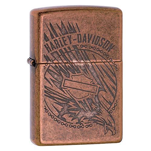 Zippo Feuerzeug Harley-Davidson, Unisex-Erwachsene, Harley-Davidson Antique Copper Logo Pocket Lighter, Antikkupfer, One Size