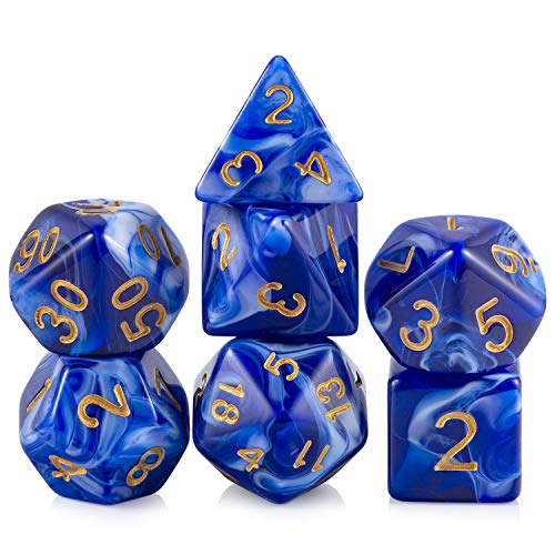 Blue Marble Game Dice Set DND, DNDND Polyhedral Acrylic Marbling Dice Set with Free Pouch for D&D Dungeons and Dragons Rolling Role Playing and Tabletop Games