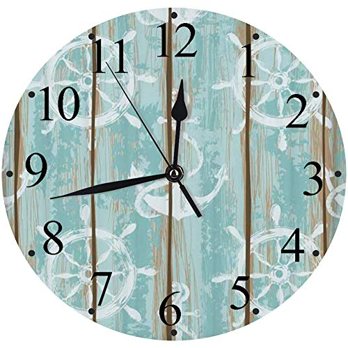 LUHUN Reloj de Pared Moderno,Viejas Tablas de patrón de Cubierta de Barco pintadas con Anclas y Ruedas Imprimirreloj de Cuarzo de Cuarzo Redondo No-Ticking para Sala de Estar 30 cm