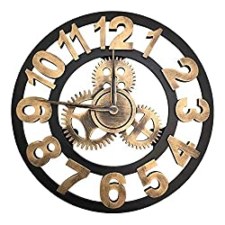 Framy Wall Clock 3D Retro Rustic Decorative Luxury Art Big Gear Wooden Vintage Large Wall Clock on The Wall for Gift 32 Inches,a,32in