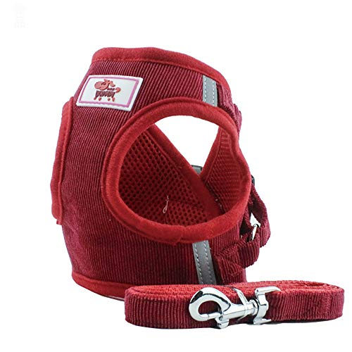 PET SPPTIES Tela de Malla Chaleco para Perros Arnés Suave Ajustable cómodo para Cachorros, Perros Pequeños y Gatos PS042 (L, Red)