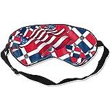 Sleeping Eye Mask,Bandera De La República Dominicana Con La Bandera De América Máscaras De Sueño Súper Suaves Para El Trabajo De Turno De Vuelo A Casa