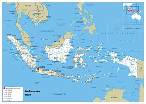 Indonesien Straßenkarte – Papier laminiert (A1)