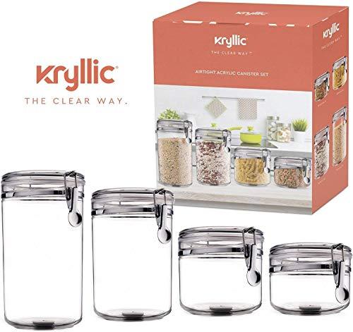 Alimentos almacenamiento envases frasco set - Cereal envase aire apretado botes con tapas para el café seco de harina de arroz acrílico plástico frasco hermético de cristal fija para cocina