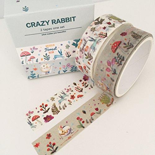Crazy Woodland–Set di 2rotoli di nastro Washi coniglio kawaii Fiore Fungo Mouse Diario Agenda–Nastro adesivo Scrapbooking, 15mm x 5m