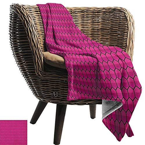 ZSUO deken opslag Hot Roze, Diagonale Lijnen Zwarte Strepen op Roze Achtergrond Klassieke Moderne Tegel Patroon Hot Roze Zwart Gezellig Hypoallergeen Eenvoudig te dragen Deken