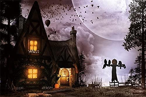 Dashan Cenário de festa de Halloween em poliéster de 3 x 2,4 m - Castelo de vila sombria, nuvens escuras, árvore fantasma, floresta, morcegos, abóboras, fantasma, fotografia, fundo, adultos, crianças, retrato, estúdio de foto