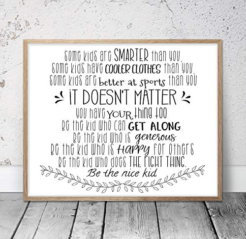 Lplpol Some Kids are Smarter Than You Be The Nice Kid Children Prints Kids Room Decor Teen Room Wall Art Classroom Posters Teacher Gifts