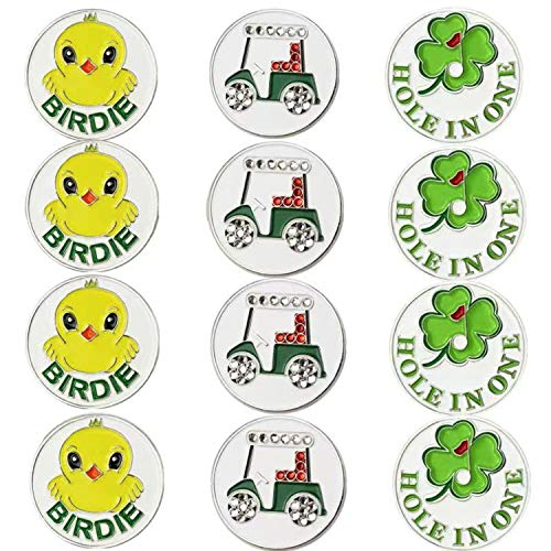 FINGER TEN Golf Ball Markers Women Assorted Patterns Value 12 Pack Gift, Mark Golf Hat Clip Divot Tool Accessories for Ladies Men Kids (Golf Markers Series)