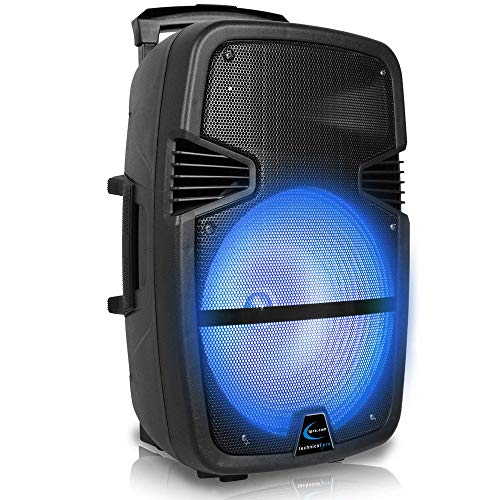 Technical Pro 3000 Watts Rechargeable 15 Inch Bluetooth LED Portable PA Speaker, with Built-in LCD Screen, Bluetooth, SD Card and USB connectivity w/Remote. Great for Party, Event, Tailgate, and More