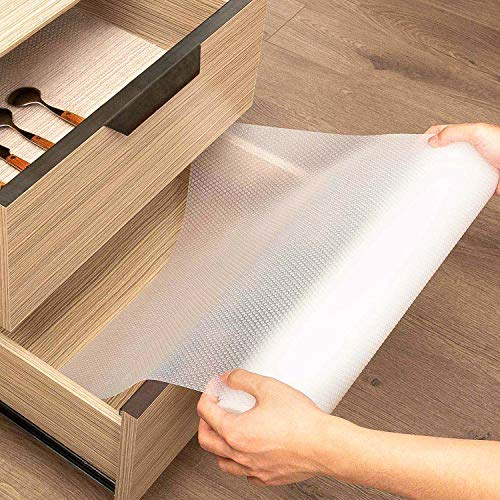 KINLO Schubladenmatte Rutschfeste 45x200cm Antirutschmatte Schrankpapier Schubladeneinlage Wasserfest Matte Nicht Klebende EVA Regalschrank für Regale Schränke Schubladen Kühlschranke