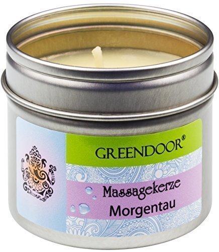 Greendoor Natur Massagekerze Morgentau 100ml, BIO Sojawachs, BIO Babassu und entspannende ätherische Öle, vegan, rußt nicht, natürlich ohne Tierversuche, Naturkosmetik Geschenke Massage-öl
