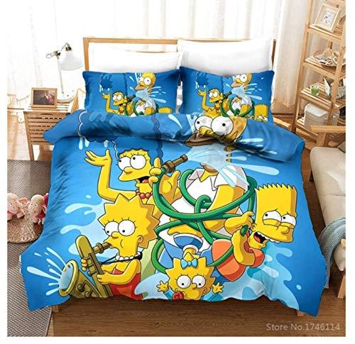 QGHZSCS Funda de edredón 3D Simpsons Family Cartoon Decorativo Juego de sábanas de Microfibra de 3 Piezas Suave y Transpirable, con Cremallera, 2 Fundas de Almohada, 135x200 cm