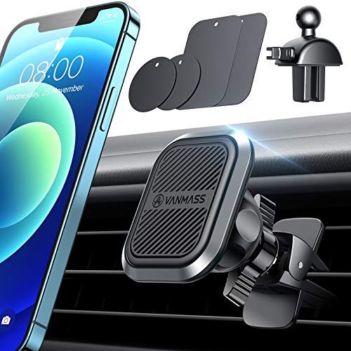 VANMASS Handyhalterung Auto Magnet mit 6 Stärkste Neodym Magnete Kfz Handyhalterung aus Industriequalität Legierung Smartphone Halterung Auto mit 2 Lüftungsclips für Alle Handys iPhone Samsung Huawei