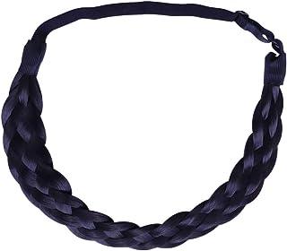 Beaupretty Tiara de cabelo sintético trançado, clássico de cabelo trançado, tranças largas trançadas, elástico trançado