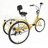 Aohuada Bicicleta de 3 ruedas 6 velocidades para adultos marchas, personas mayores marchas triciclo cruzado con cesta respaldo bicicletas amarillo sin luz