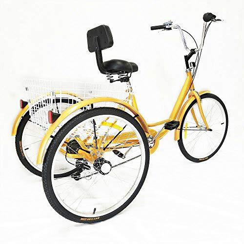 Tricycle - Tricycle per adulti, 24 pollici, 6 marce, 3 ruote, per anziani, anziani, tempo libero, triciclo, giallo, con grande cestino + schienale Bicycle, unisex, per anziani, sicuro e stabile