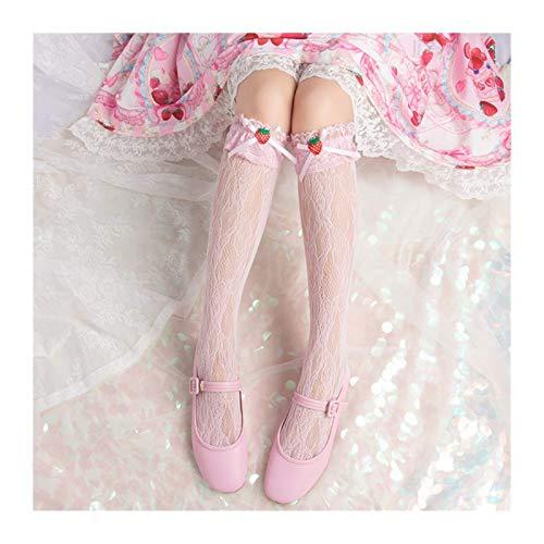 WCNMD Diario de la Fresa Primavera y Verano Lolita Chica Lace en Calcetines del Tubo Calcetines Lindos Apilados (Color: Amarillo Claro) (Color : Barbie Pink)