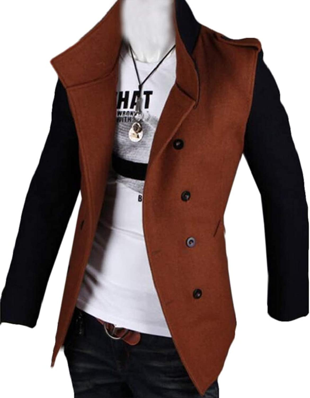 KLJR Men Patchwork color Block Windbreaker Slim Fit Double-Breasted Jacket Coat