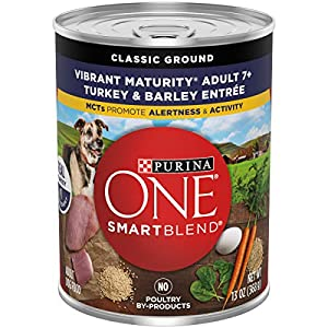 Purina ONE Natural Senior Pate Wet Dog Food, SmartBlend Vibrant Maturity 7+ Turkey & Barley Entree – (12) 13 oz. Cans