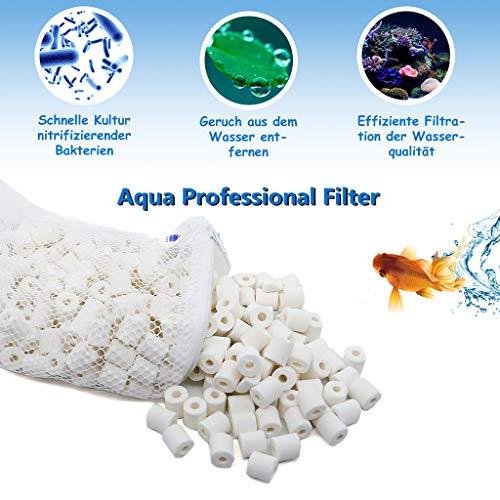 boxtech Keramische Bio Ringen Biologische Filter Media in Tassen voor Aquarium/Vijver Filters, Kleur: wit