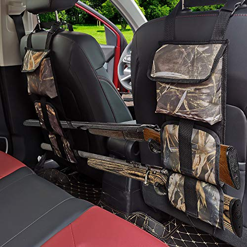 FAVORGEAR Seat Back Gun Rack, Camo Backseat Gun Sling Bag with Storage for Car Jeep Pickup Truck SUV Tote 2 Long Guns, Outdoor Camouflage Safety Carrying Organizer Holder for Hunting Rifles Shotgun