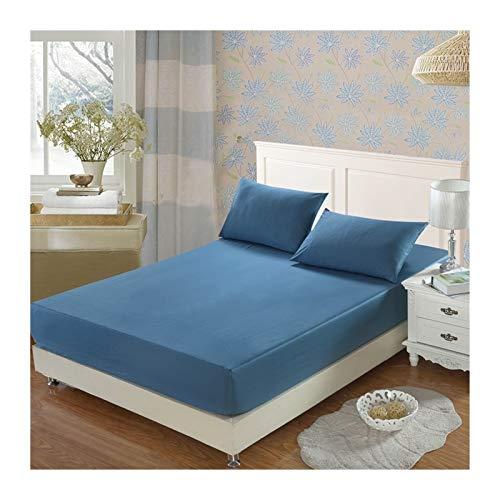 MOLUO Sábana 100% Cama de algodón, Hoja de Cama Simple, Cuatro Esquinas con Banda elástica, Cubierta de colchón Suave y cómoda (Color : Light Blue, Size : 180x200x25cm 1Piece)