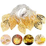 KKAAyueqin Gold Leaves String Lights, 3M/9.8FT, 20 Lights, Wedding Christmas Birthday Holiday Room Courtyard Decorative LED Lights, Party Favors, Girlfriend Gifts, Stainless Steel, Warm White