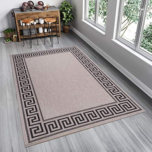Tapiso FLOORLUX Teppich Flachgewebe Sisal Optik Silber Grau Schwarz Geometrisch Griechisch Design Bordüre Küche Wohnzimmer Indoor 60 x 110 cm