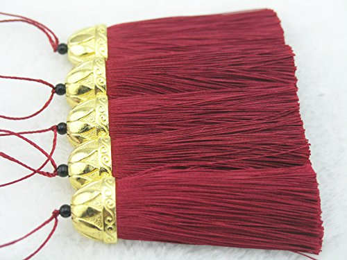 19colores a escoger, 10 piezas. Hecho a mano (de 5,5 cm.), suave, cable con borlas doradas, para accesorios. granate
