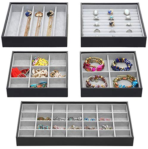 Set of 3 Gadgets Display Showcase Stackable Jewelry Organizer Trays Accessories Storage Box for Drawer Dresser Wardrobe