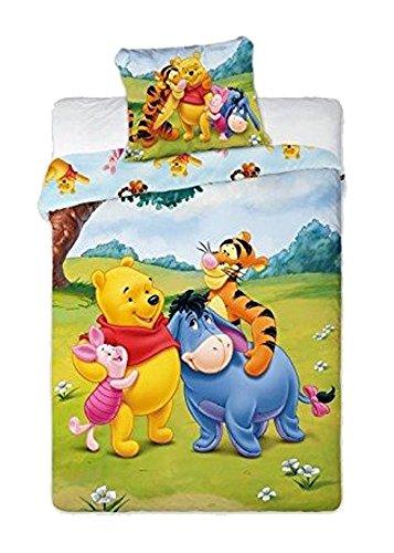 Parure de lit Winnie l'ourson pour enfant - Multicolore - 100 x 135 cm pour la housse de couette et 40 x 60 cm pour la taie d'oreiller