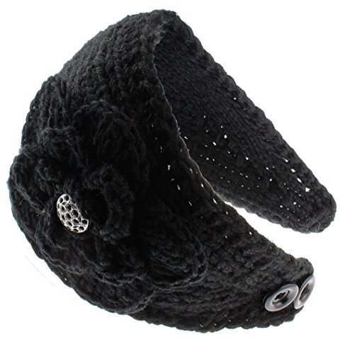 KMystic Knit Winter Headband Ear Warmer with Sparkles (Rhinestone Black)
