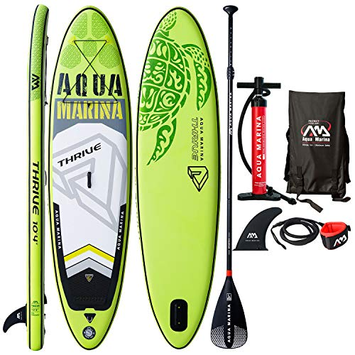 """Aqua Marina Thrive 10'4"""" Inflatable Stand Up Paddle Board (6"""" Thick) with Double Action Pump, Magic Backpack, Slide-in Center Fin, Sports III Paddle, Safety Leash, Bundle"""