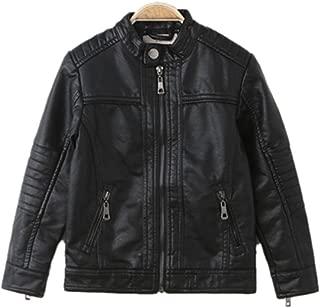 Boy's Moto Trendy Stand-Collar PU Leather Spring Moto Jacket