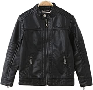 Liao Chen Xuan Boy's Moto Trendy Stand-Collar PU Leather Spring Moto Jacket