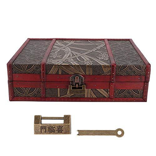 Vintage sieradenkist houten opbergkist sieradenkist voor ketting en oorbellen, mooie kaptafel decoratie sieraden opbergkist met slot